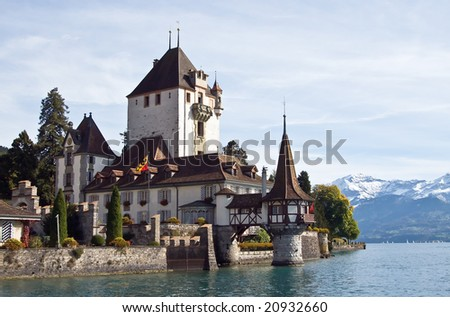 Castle on the lake Thun (Switzerland)