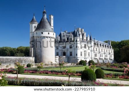 Castle on the Loire: Chateau de Chenonceau, France - stock photo