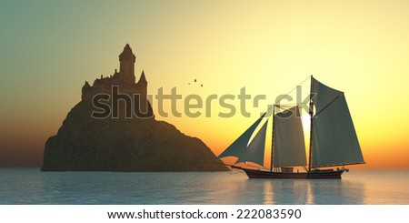 Castle on the Sea - A schooner sails by a fortress castle on an island offshore from the coastline. - stock photo