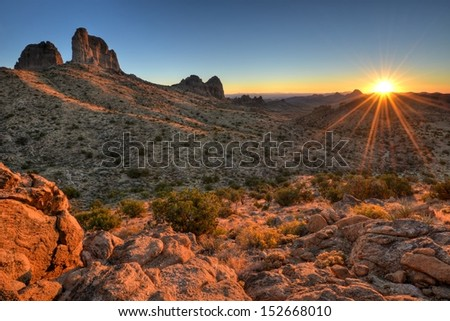 Castle Peaks Sunrise Mojave National Preserve, California. - stock photo