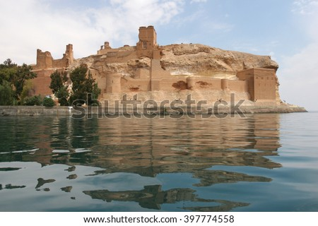 Castle Qal'at Ja'bar on the left bank of Lake Assad in Ar-Raqqah Governorate, Syria