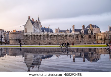 Castle reflection - stock photo