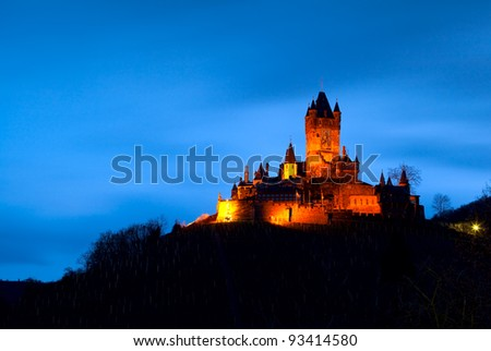 castle Reichsburg in Cochem, Germany at night
