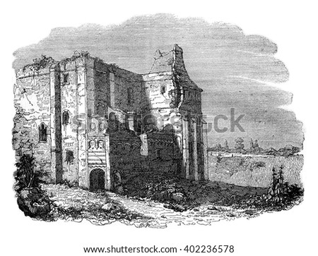 Castle Rising, owned Stigand, vintage engraved illustration. Colorful History of England, 1837.