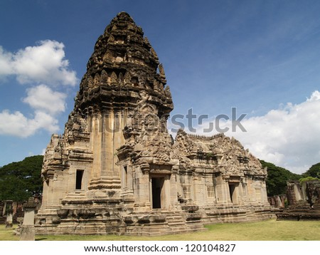 Castle rocks in Thailand. Religious buildings constructed