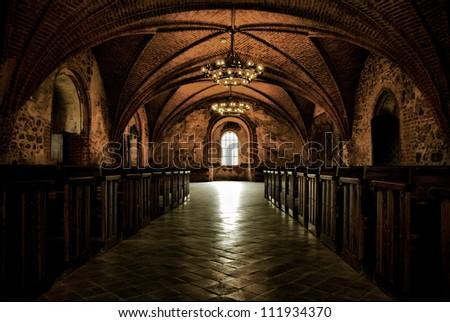 Castle room , authentic medieval interior, gothic hall - stock photo
