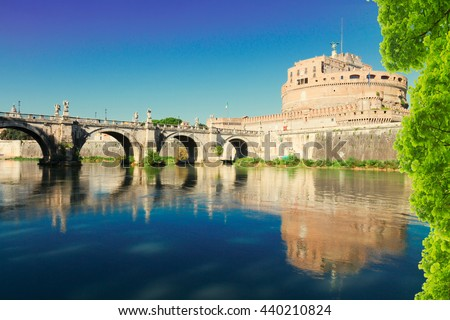 castle saint Angelo and bridge over Tiber at summer, Rome, Italy