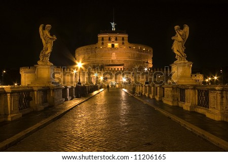Castle Sant'Angelo in Rome by night - stock photo