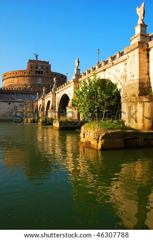 Castle Sant'angelo (Mole Adriana), view from Tiber river. Rome