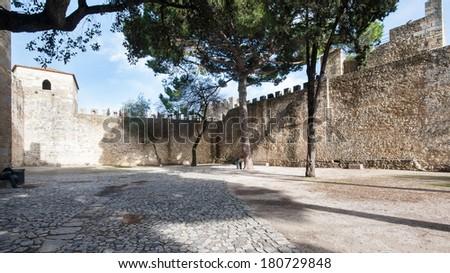 Castle Sao Jorge interior view. Lisbon, Portugal.  - stock photo