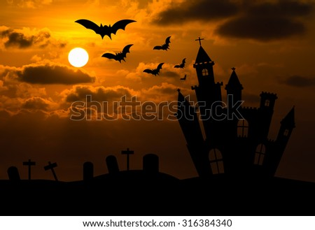 Castle silhouette in Halloween night .Used as a background for Halloween - stock photo