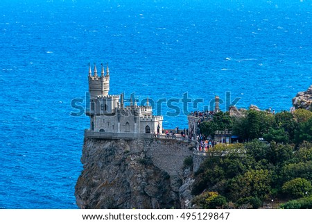 Castle Swallow's Nest on the background of the Black Sea, Crimea