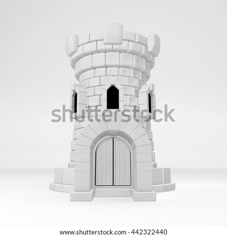 Castle tower building white symbolic, vertical, 3d illustration - stock photo