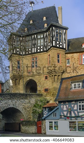 Castle tower gate with bridge in Idstein, Germany