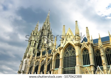 Castle tower in Brussels - stock photo