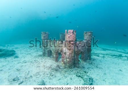 castle underwater - stock photo