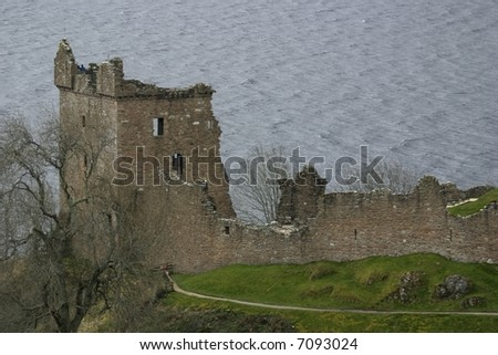 Castle Urquhart and Loch Ness - stock photo