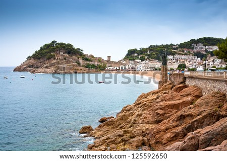 Castle view in Tossa de Mar, Costa Brava, Spain.