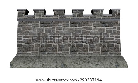 Castle wall isolated in white background - 3D render - stock photo