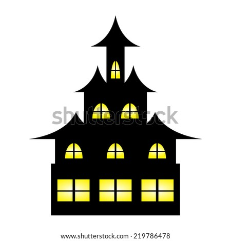 Castle witches on Halloween - stock photo