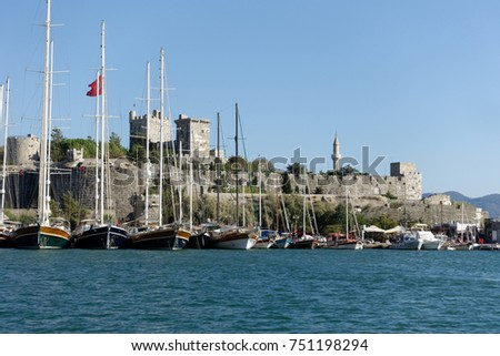 Castle with marina in Bodrum, Turkey