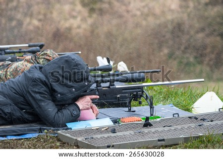 Castlemaine, Ireland - 28th March 2015: Rifle target shooting at Castlemaine gun range, Target shooting has grown popularity in Ireland even with some of the strictest firearms laws in Europe