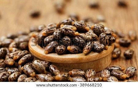 Castor beans in a wooden bowl