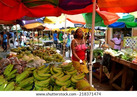 CASTRIES SANTA LUCIA, SEP. 2014: Tropical Market on September, 2014 in Castries, Santa Lucia. Agricultural markets are the leading supplier of food in Santa Lucia.  - stock photo