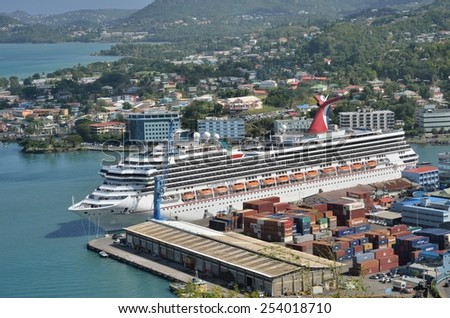CASTRIES ST LUCIA CARIBBEAN 19  January  2015:  Large Cruise Ship in harbour of castries St Lucia - stock photo