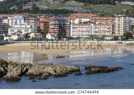 Castro Urdiales, Spain - April 03, 2015: Castro Urdiales is a picturesque small town in the northern coast of Spain. - stock photo