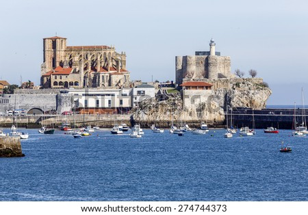 Castro Urdiales, Spain - April 03, 2015: Church of St. Mary of the Assumption in Castro Urdiales , Cantabria, Spain
