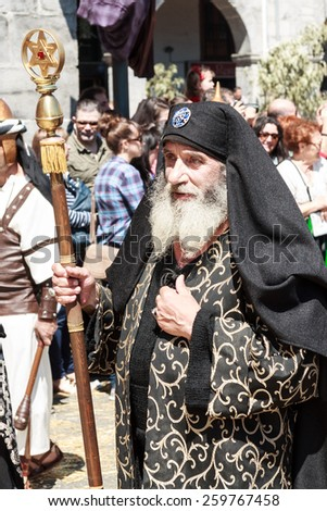 CASTRO URDIALES - SPAIN - APRIL 18: Priest of the Sanhedrin trial in the living passion of Castro Urdiales celebrated in Castro Urdiales on April 18, 21014 - stock photo