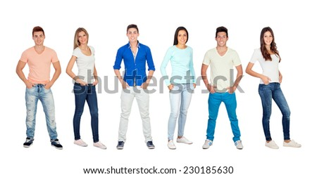 Casual and young people isolated on a white background - stock photo