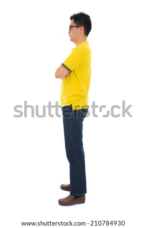 casual asian male  side way - stock photo