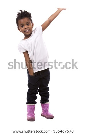 casual black girl posing on white studio background - stock photo