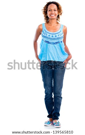 Casual black woman smiling - isolated over a white background - stock photo