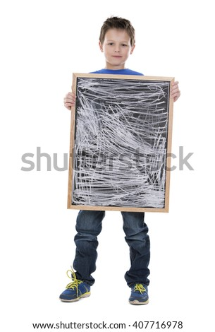 casual boy is holding a chalk board on white background - stock photo