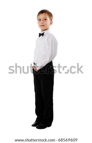 Casual Boy School Kid On White Background. Side View.