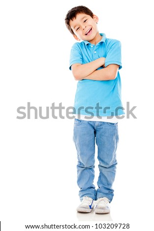 Casual boy smiling standing isolated over a white background - stock photo