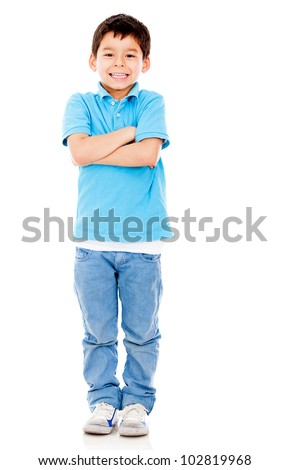 Casual boy with arms crossed - isololated over a white background - stock photo