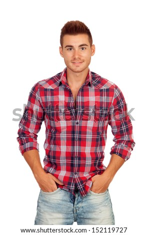 Casual boy with plaid shirt isolated on white background