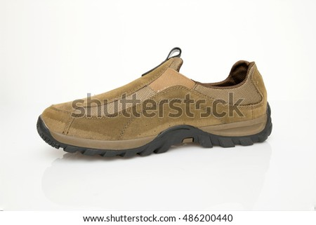 Casual brown shoe in white background