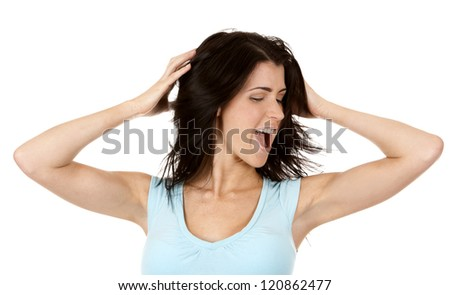 casual brunette shouting on white isolated background