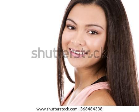 casual brunette teen girl posing on white background - stock photo