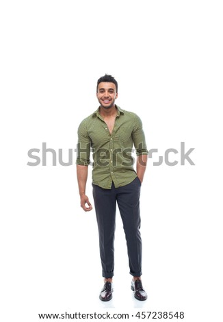 Casual business man happy smile young handsome guy full length wear shirt isolated white background - stock photo