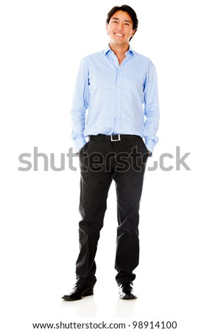 Casual business man - isolated over a white background - stock photo