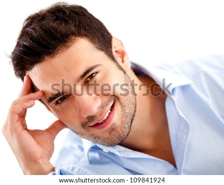 Casual business man looking confident - isolated over white - stock photo
