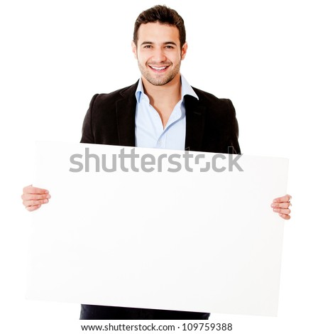 Casual business man with a banner - isolated over white background - stock photo