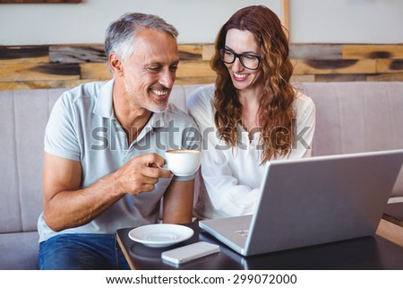 casual business people working at the cafe - stock photo