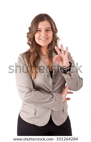 Casual Business woman signaling ok - stock photo